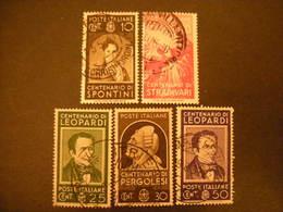 OCCASIONE -1937, UOMINI ILLUSTRI, Lotto Di 5 , Usati TTB - 1900-44 Vittorio Emanuele III