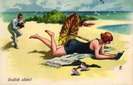 Lesende Dame Am Strand, Mann Mit Fotoapparat, Sign. Arthur Thiele - Thiele, Arthur