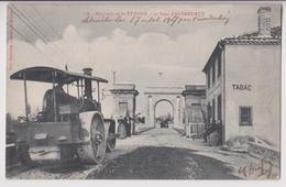 ANDREZIEUX (42) : REPARATION DU PONT - GOUDRONNEUSE ET ROULEAU COMPRESSEUR - TABAC - ECRITE EN 1908 - 2 SCANS - - Autres