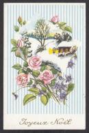 98124/ NOEL, Fleurs, Roses, Violettes - Christmas