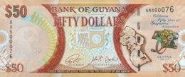 Guyana 50 Dollars, P-41 (2016) - UNC - 50 Years Independence Banknote - Guyana