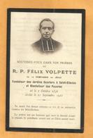 IMAGE GENEALOGIE FAIRE PART AVIS DECES  REVEREND FELIX VOLPETTE CGNIE DE JESUS JARDINS OUVRIERS SAINT ETIENNE 1856 1922 - Décès