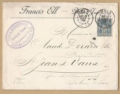 Sage 101 Sur Enveloppe Avec Entête Vins Et Spiritueux Françis Ell TAD Daguin + Piston 8/10/95 - Marcophilie (Lettres)