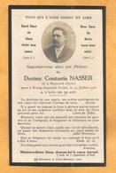 IMAGE GENEALOGIE FAIRE PART DECES CARTE MORTUAIRE BOURG ARGENTAL  DOCTEUR NASSER BEYROUTH SYRIE 1859 1918 - Décès