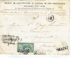143 Merson 45 C. Vert Sur Lettre Chargée Pour Granville Du 19-09-1907 - 1900-27 Merson