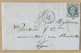 Napoléon 29A Sur Lettre De Salins 8/10/68 Vers Lyon Vignette Publicitaire Au Verso Comestibles X Jourdan - 1849-1876: Classic Period