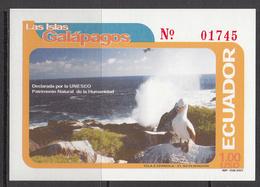2001 Ecuador Galapagos Booby Birds Oiseaux Souvenir Sheet  MNH - Ecuador