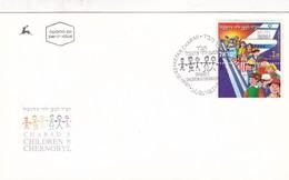 CHABAD'S CHILDREN OF CHERNOBYL-FDC 1997 KEFAR CHABAD- STAMP AVEC BORD DU PLAQUE-TBE- BLEUP - FDC
