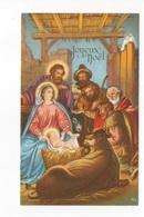 JOYEUX NOEL - CARTE AVEC LE PETIT JÉSUS, MARIE, JOSEPH ET APÔTRES  - CARTE COULEUR DORÉE -  VOYAGEE - Crèches De Noël