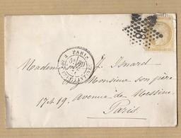 Cérès 55 Sur Enveloppe De Paris étoile 38 Vers Paris 20/02/74 - 1849-1876: Période Classique