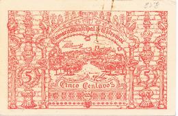 ESTREMOZ - CÉDULA DE 5 CENTAVOS DA CÂMARA MUNICIPAL DE ESTREMOZ.. - Portugal