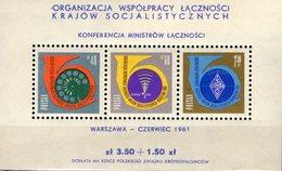 Post-Konferenz 1961 Polen Block 24 ** 10€ Posthorn Telefon UKW Hoja Bloc Philatelics Bloc Ss Sheet Bf POLSKA Poland - Blocks & Sheetlets & Panes