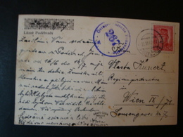 Tschechoslowakei, Zensurpostkarte, Von Prag Nach Wien, Zensurstempel: Österreichische Zensurstelle 267 - Briefe U. Dokumente
