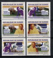GUINEA 2007 MAHATMA GANDHI PARROTS RHINO ANIMALS ** SET ** MNH - Mahatma Gandhi