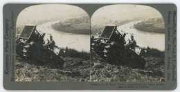WWI ~ US Army Tractor Ascending Rhine Bank Near Coblenz ~ Stereoview 19234 21018 - Photos Stéréoscopiques