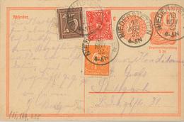 Postreiter [P153] 18.11.1922 Niederstetten (Einkreisstempel) 5. TP Fernkarte N. Stuttgart - Deutschland