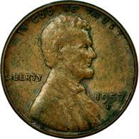 Monnaie, États-Unis, Lincoln Cent, Cent, 1957, U.S. Mint, Denver, TB+, Laiton - 1909-1958: Lincoln, Wheat Ears Reverse