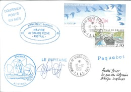 """TAAF-Martin De Vivies-St Paul-AMS: Lettre """"Austral"""" Avec Timbre France N°2658 Pont-canal De Briare + DIVA - 10/12/1991 - French Southern And Antarctic Territories (TAAF)"""