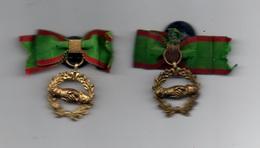 Lot De 2 Insignes Boutonniére De Mutuelle Franc Maconnerie ? / Ruban/Couronne Et Poignée De Mains// Vers 1910-1920 - Militares