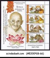 TONGA - 2015 MAHATMA GANDHI &  WILD ANIMALS OF INDIA TIGER  MIN/SHT MNH - Tonga (1970-...)