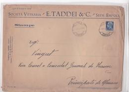 SOCIETA VETRARIA E.TADDEI&C. SEDE EMPOLI CIRCULEE FIRENZE A MONACO YEAR 1932 GRAND FORMAT-RARE - BLEUP - 1900-44 Vittorio Emanuele III