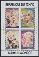 Chad 1996 Marylin Monroe Perf Sheetlet Containing 4 Values Mnh As Scott 656-668 PERSONALITIES MUSIC FILMS CINEMA - Chad (1960-...)
