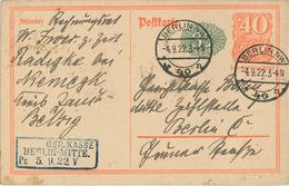Postreiter [P152] 4.9.1922 Berlin NW (Zweikreisstegstempel) 2. TP Ortskarte Berlin - Germany