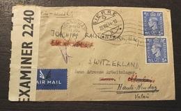 LETTRE AERIENNE  CENSUREE LONDRES-SUISSE 28/08/1944 - 1902-1951 (Reyes)