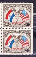 PARAGUAY 1935 SPÉCIMEN USA & NATIONAL FLAGS CHACO WAR WARRANTY VERTICAL PAIR MNH MICHEL# 483 - Paraguay