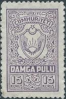 Turchia Turkey - 15 Kurus Damga Pulu Revenue Stamps Fiscal Tax,Not Used,mint - 1921-... République