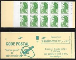 Carnet 2318-C1 Daté 5.9.84 Liberté 1,70 Vert Couverture Code Postal Conf 8 - Definitives