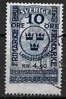 Suède 1916 N°86 Oblitéré, Hôtel Des Postes Surchargé, Cote 275 Euros - Suède