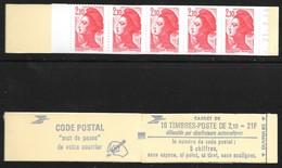 Carnet 2319-C3 Daté 21.9.84 Liberté 2,10 Rouge Couverture Code Postal - Definitives