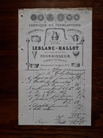 Ancienne Facture. Fabrique De Ferblanterie. Paris. Leblanc - Hallot. 1889 - France
