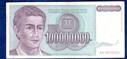 JUGOSLAVIA   100000000  DINARI   1993   CIRCOLATO - Yougoslavie