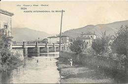 Cpa Irun, Pont International De Behovia, Frontière Française, Baigneur - Espagne