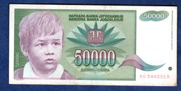 JUGOSLAVIA   50000  DINARI   1992  CIRCOLATO - Yougoslavie