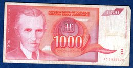 JUGOSLAVIA   1000  DINARI   1992  CIRCOLATO - Yougoslavie