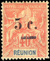 Reunion 1901 5c On 40c Red On Yellow Lightly Mounted Mint. - Reunion Island (1852-1975)