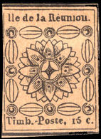 Reunion 1852 15c Black Reprint Unused. - Reunion Island (1852-1975)