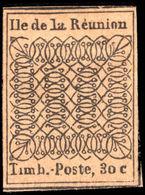 Reunion 1852 30c Black Reprint Unused. - Reunion Island (1852-1975)