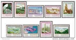 Taiwan 1977 9  Major Construction Stamps Interchange Plane Train Locomotive Ship Harbor Petrochemical Steel - 1945-... Republic Of China