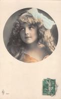 BEAUTIFUL YOUNG GIRL-ORANGE DRESS & BLUE HAIR BOW W/ HANDPAINTED TRIM-LONG HAIR 1910 FRENCH PHOTO POSTCARD 38894 - Enfants