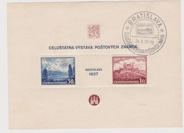 Czechoslovakia Scott 239 1937 Bratislava Philatelic Exhibition Souvenir Sheet.used - Czechoslovakia