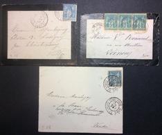 S18 Calvados Et Cantal Et Cher Gare De Lisieux Et St Cernin Du Cantal Et St Amand Mont-Rond Sage 5c Et 15c X 2 - Postmark Collection (Covers)