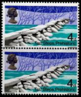 GREAT BRITAIN 1968 Bridges 4d PAIR ERROR:print On Reverse Gum Tarr Steps Prehistoric - Prehistory