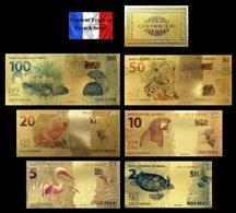 Set De 6 Billets Plaqués OR Couleur  + Certificat ! (Color GOLD Plated Banknotes) - Brésil Brazil - Brésil