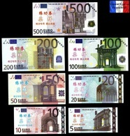 Set Complet De 7 Billets NEUFS Euros - SPECIMEN Echantillons Test Practice Banknotes - EURO