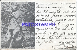 107296 CHILE ESTRECHO DE MAGALLANES COSTUMES NATIVE INDIO CIRCULATED TO URUGUAY POSTAL POSTCARD - Chile