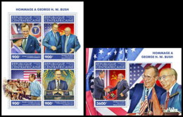 CENTRAL AFRICA 2018 MNH (No.1) Tribute George H.W. Bush Mikhail Gorbachev M/S+S/S - OFFICIAL ISSUE - DH1905 - Celebrità